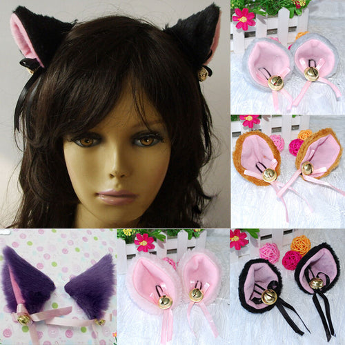 1 Pair HOT New Sweet Funny 6 Colors Bell Cat Ears Hair Clip Cosplay Anime Costume Halloween Birthday Party Hair Accessories