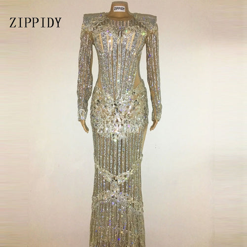 Luxurious Sparkly Crystals Celebrate Dress Evening Bright Rhinestones Long Dress Costume Female Singer Birthday Dresses