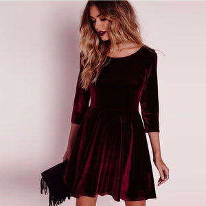 Women Dress Round Neck Velvet Dress Three-Quarters Sleeve Dress - Stuff Mart Canada