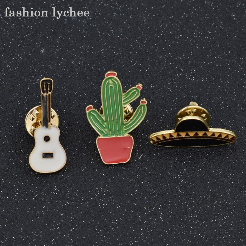 fashion lychee 3pcs New Design Tropical Plants Cactus Western Cowboy Country Music Guitar Hat Brooch Pin For Women - Stuff Mart Canada