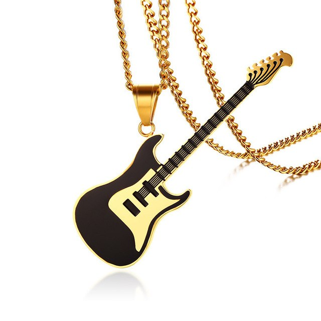 Vnox Guitar Pendant For Women Men Necklace Stainless Steel Music Lover Club Accessories Casual Punk Unisex Jewelry 24