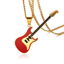 "Load image into Gallery viewer, Vnox Guitar Pendant For Women Men Necklace Stainless Steel Music Lover Club Accessories Casual Punk Unisex Jewelry 24"" Chain - Stuff Mart Canada"