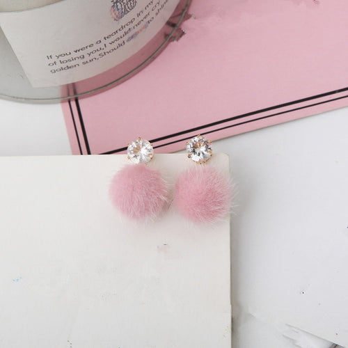 2018 New Temperament Short Paragraph Earrings Personalized Wild Simple Hair Ball Female Models Earrings