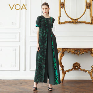 ba390e160b2 VOA Heavy Silk Jumpsuit Women Plus Size Wide Leg Long Jumpsuits Boho  Georgette Print Green Slim Pearl Clasp Casual Summer K375