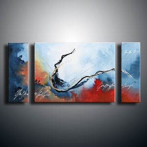 Hand Painted Abstract Wave Acrylic Paintings Hand Painted Graffiti Seascape Oil Painting Home Decor Wall Art 3 Panel Pictures