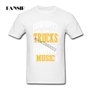 Cowboys Trucks Country Music Camisetas New Style Men's T Shirts Short Sleeve Cotton O-neck T-shirt For Man - Stuff Mart Canada
