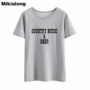Mikialong Country Music Beer Tshirt Women	Summer Tumblr Black White T Shirt Women Cotton Printed Basic Tee Shirt Femme - Stuff Mart Canada