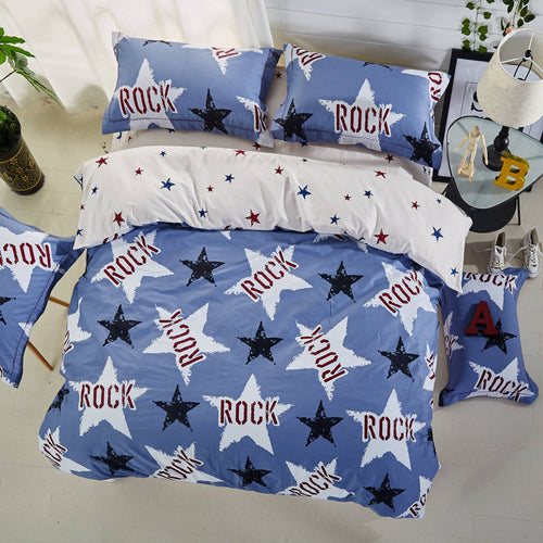 musical ROCK stars print bedding sets bedspreads cotton bed duvet covers Children's Boys bedroom decor Full Queen King size blue