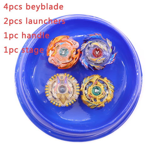 Bey Blade Burst Beyblade Set 4 Bayblade+2 Launcher+1 Handle +1 Stage Metal Fusion Rapidity Master Fight Rare Toy For Children #E