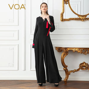 8c480a8e4cc VOA Heavy Silk Plus Size 5XL Black Jumpsuits Women Solid Slim Wide Leg  Pants Pearl Clasp Flare Long Sleeve Vintage KLX01201