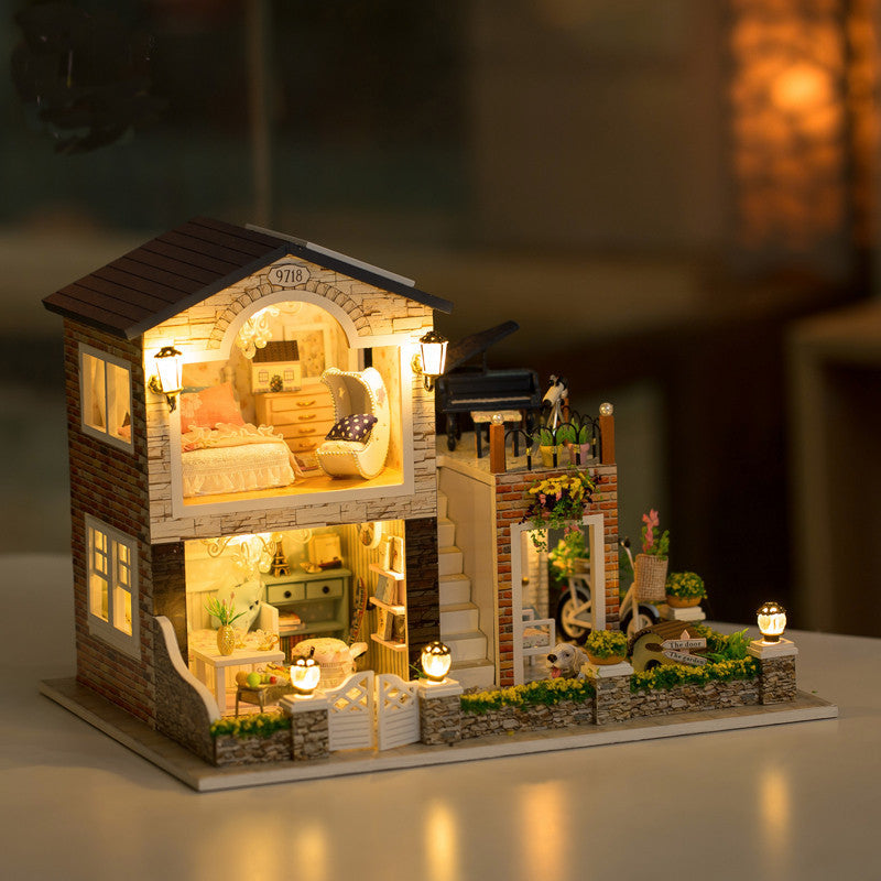 Irish Country House 1/24 DIY Wooden With LED Music Furniture Dollhouse Decoration Children Kids Toys Improve Operation Ability - Stuff Mart Canada