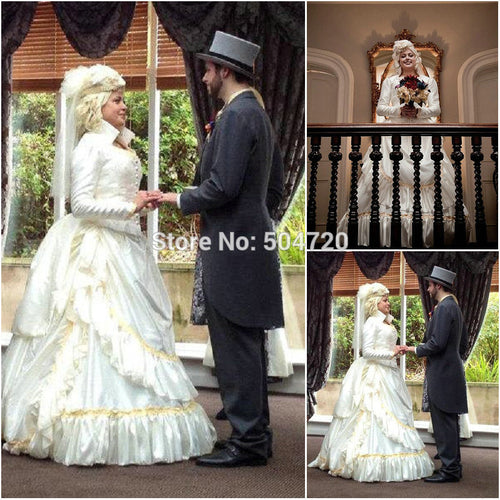 On sale R-059 19 century Vintage Costumes Victorian Gothic Lolita dress/Civil War Southern Belle Halloween dresses