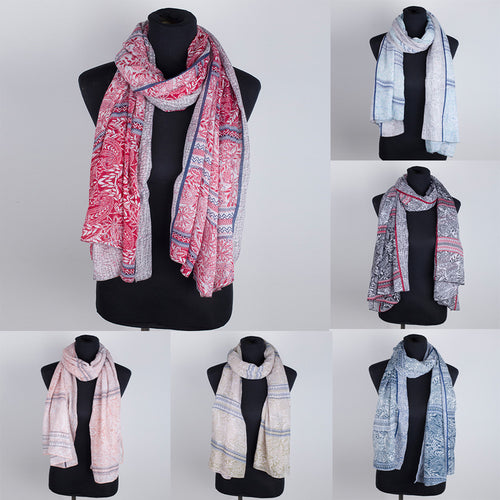 Women Leaves Printing Scarf Fashion Retro Female Multi-Purpose Shawl Scarf