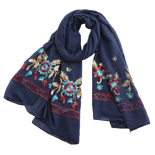 Women Embroidery Flower Couple Scarf Fashion Beach Multi-Purpose Shawl Scarf