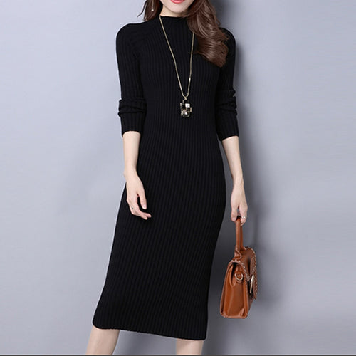 New Warm Women long sweater dress 2018 Spring and autumn sexy slim Bodycon Dresses Elastic Skinny Dress Knitted Dress vestidos