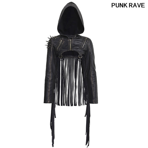 Fashion Leather Hooded Matched With Large Zipper Long Tassels Sexy Design Coat Gothic Women Short Tassel jacket PUNK RAVE Y-667