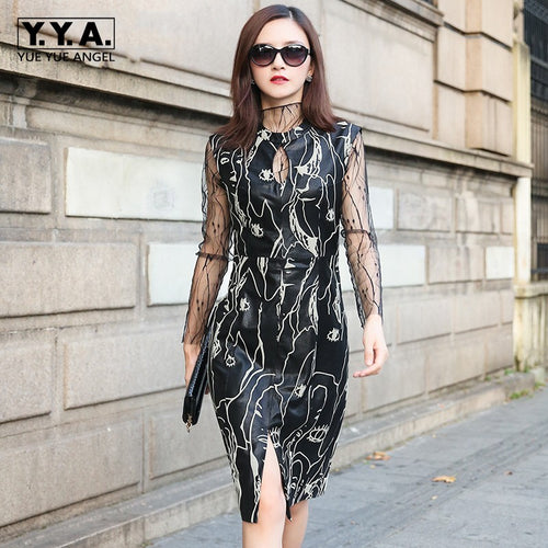 Retro Elegant Women Sheepskin Genuine Leather Slim Fit Knee Length Dress OL 2018 New Ladies Formal Party Sarafan Vintage Dress