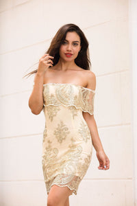 A shoulder embroidered dress with a slim dress. - Stuff Mart Canada
