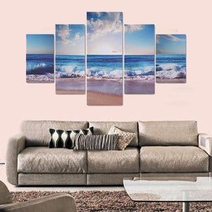 5PCS Modern Art Oil Sea Paintings Canvas Print Wall Unframed Pictures Home Decor