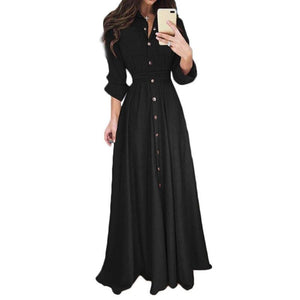 Women's Fashion Spring and Autumn Casual Long Dress Lapel Long Sleeve Maxi Dress Shirt Dress Solid Color Lady Dress - Stuff Mart Canada