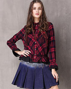 S M L vintage cotton new autumn spring 2018 women blouse shirt long sleeve red and black plaid loose lady top #9250