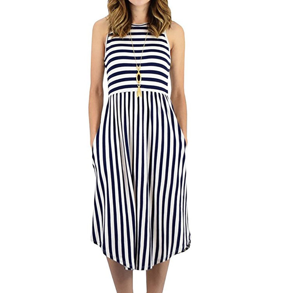 Womens Dress Striped  Sleeveless Casual Summer Beach Dresses with Pockets Dress - Stuff Mart Canada