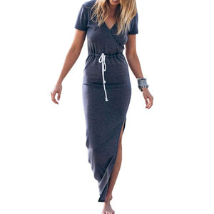 Women's Dresses Personality Fine Waistline Short Sleeve Pencil Dress Maxi Dress Lace Waist Long Pencil Slit Dress - Stuff Mart Canada