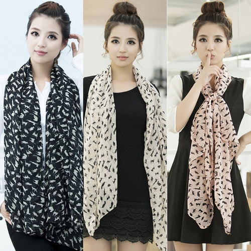 Fashion Scarf Cute Cat Wrap Shawl Trendy Girls Long Soft Silk Chiffon Scarf