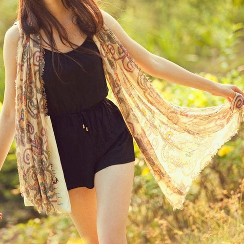 National wind wholesale boho retro Totem scarf shawl