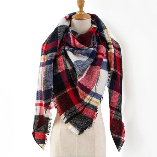 8505afc16f1f 2018 Winter Scarf Women Cashmere Plaid Pashmina Scarf Luxury Brand Blanket  Wraps Female Scarves and Shawls