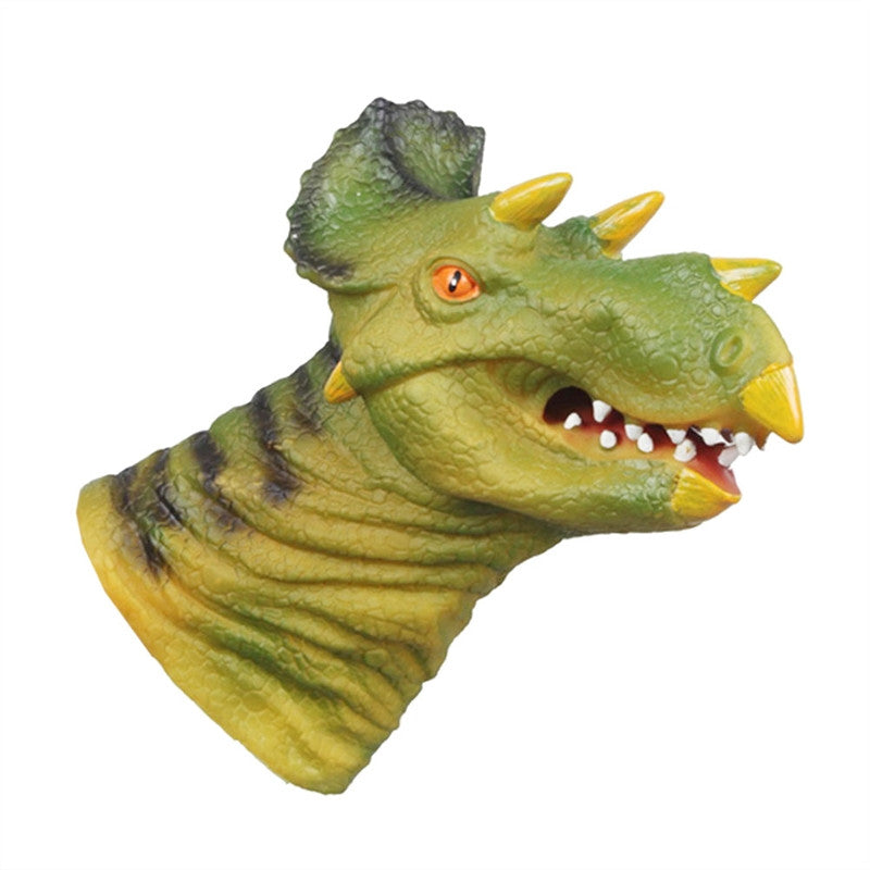 Dinosaur Head Puppet Animal Hand Puppet Toy Mouth Active Simulation Soft Doll Glove (Triceratops) - Stuff Mart Canada