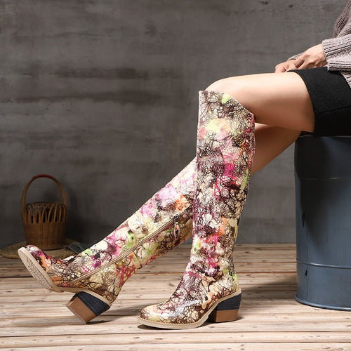 2018 VALLU Original Leather Women Shoes Knee High Boots Round Toes High Heels Mixed Color Block Heel Ladies Long Boots