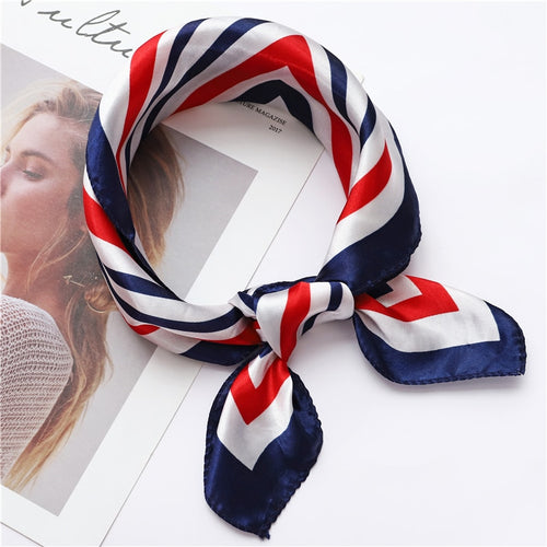 2018 women scarf silk feeling hair neck scarves square brand office Printing Hotel Waiter Flight Attendants Handkerchief rings