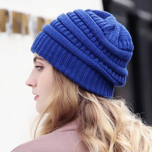 d99dfb96da58a Drop Shipping Beanie Women Cap Hat Skully Trendy Warm Chunky Soft Stretch  Cable Knit Slouchy Beanie