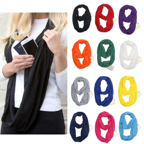 Grandwish Fashion Portable Women Scarf with Zipper Pocket Infinity Scarf All Match Convertible Travel Journey Scaves ,CI007