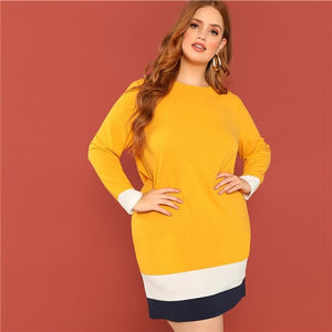 SHEIN Plus Size Colorblock Casual Women Ginger Straight Knee Length Dress Spring Autumn Long Sleeve Office Lady Dresses - Stuff Mart Canada