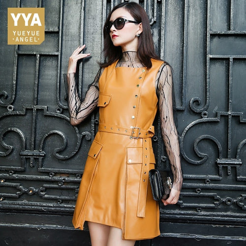 Italy Designer Women Luxury Sheepskin Real Leather Dress Motorcycle Biker Rivet Sarafan Belted Dresses A Line Wrap Mini Vestidos