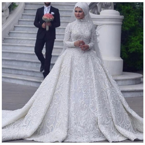 Arabian White Wedding Gown Custom Made Appliques Full Sleeves Long Muslim Formal Party Dresses Big Heart Train Bridal Dresses