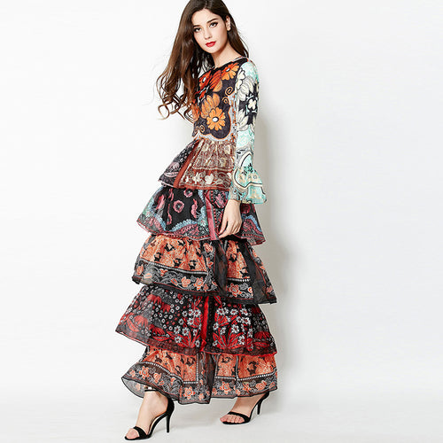 Europe big beautiful gorgeous layered cake style long maxi long sleeve floral print Slim dress catwalk designer runway dress