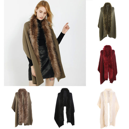 Winter Warm Fashion Solid Color Long Thickening Fur Collar Cashmere Scarf Shawl