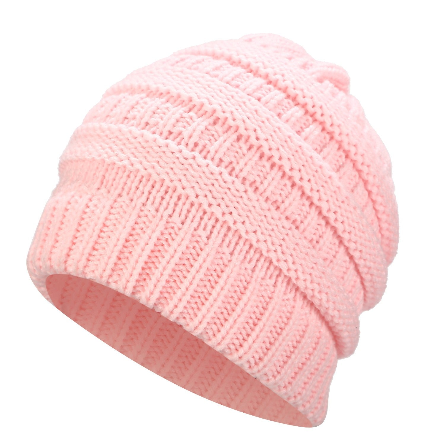 26873d6b2af87 Ponytail Beanie Hat Winter Skullies Beanies Warm Caps Female Knitted ...