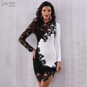 01af67cea18 Adyce 2018 New Summer Bodycon Celebrity Evening Party Dress Vestidos  Elegant Long Sleeve Lace Mini Club Dress Sexy Woman Dresses