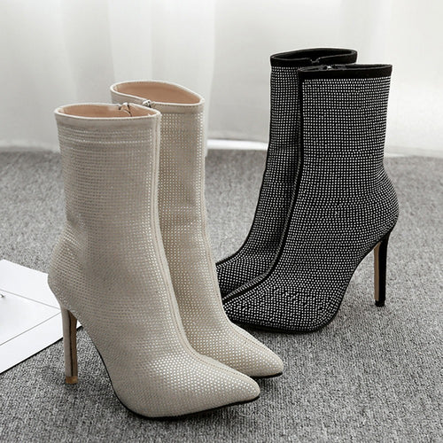 Boots Pointed Water Drill High Heels Boots Autumn Winter Women Side Zipper Shoes