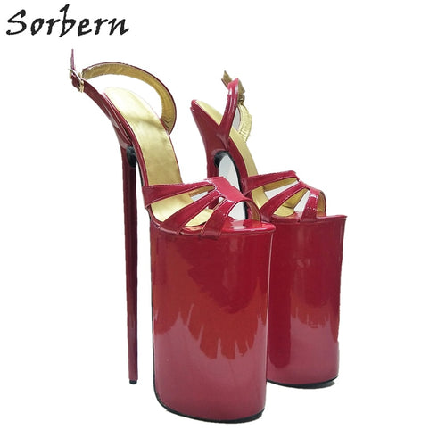 Sorbern Super High 30Cm Women Sandals Extreme Thin Heels Party Shoes Show Large Size Thick Platform Summer Sandal Shoes Open