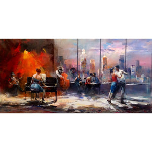 contemporary art Playing music with view on skyline Willem Haenraets Canvas oil paintings for living room handmade High quality