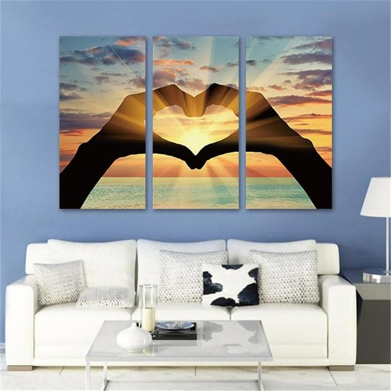 3 Pcs Paintings on Canvas Artwork Oil Painting Prints Home Decor Wall Art Landscape Pictures Wall Sticker Gifts No Framed Ocean Hearts
