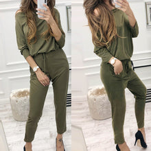 Load image into Gallery viewer, Women's Long Sleeve Solid Color Shirt Top + Pants Set