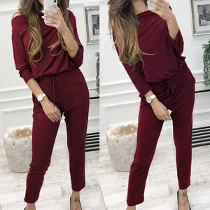 Women's Long Sleeve Solid Color Shirt Top + Pants Set