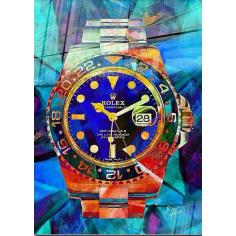 Hand made Artist Designed Rolex watch Abstract Pop Art color Oil Painting On Canvas Graffiti artwork no frames for home decor