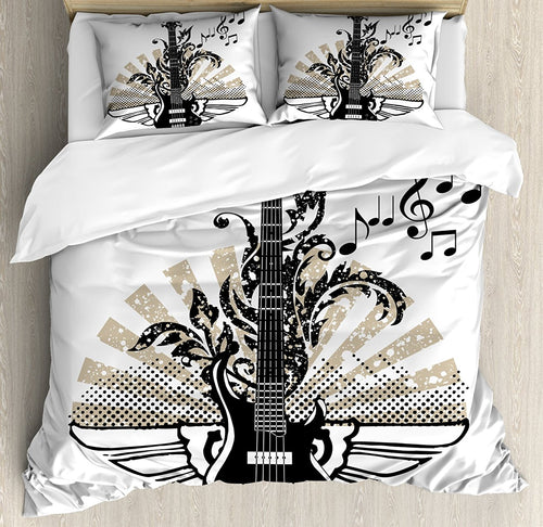 Guitar Duvet Cover Set Geometrical Elements Stripes Swirls Dots Lines and Musical Notes Rock and Roll Decor 4 Piece Bedding Set